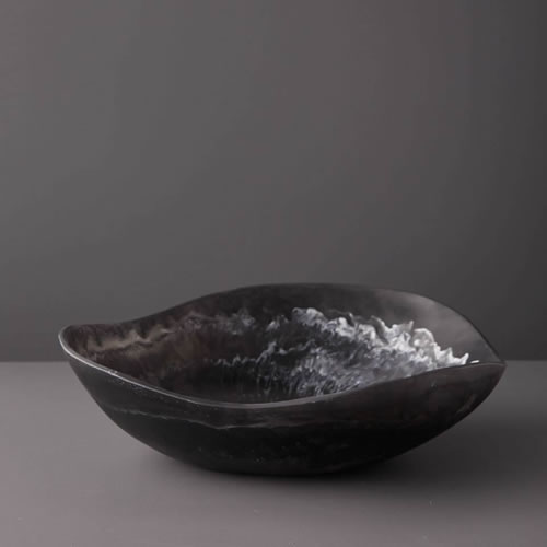 Resin Large Bowl in Black Marble