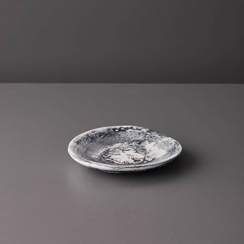Resin Small Plate in Grey Marble