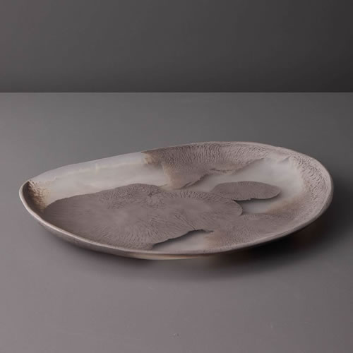 Resin Large Platter in Taupe Marble