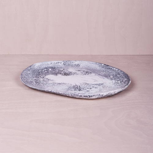 Resin Large Platter in Ash Marble