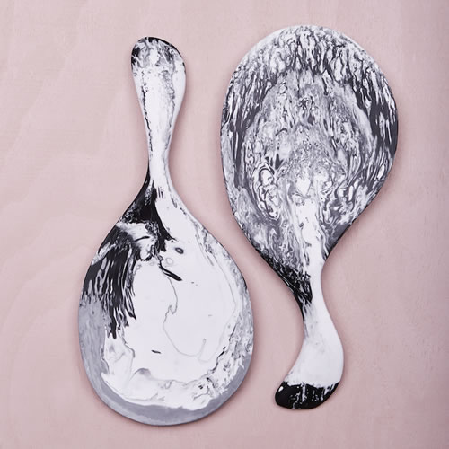Resin Paddle Salad Servers in Ash Marble