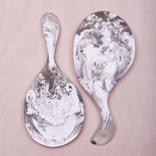 Resin Paddle Salad Servers in Smoke Marble
