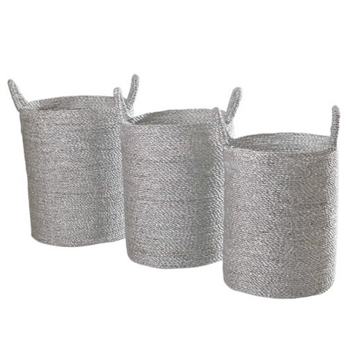 Silver Set of 3 Round Tall Baskets