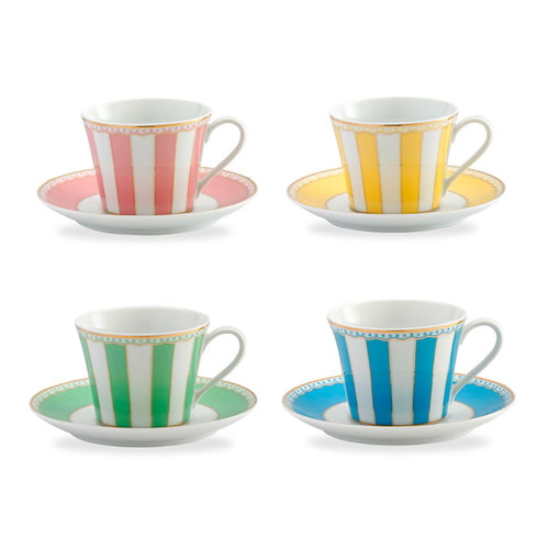 Carnivale Cup and Saucer Set for 4 in Assorted Colours