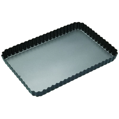 Non Stick Loose Base Fluted Rectangular Flan Quiche Tin