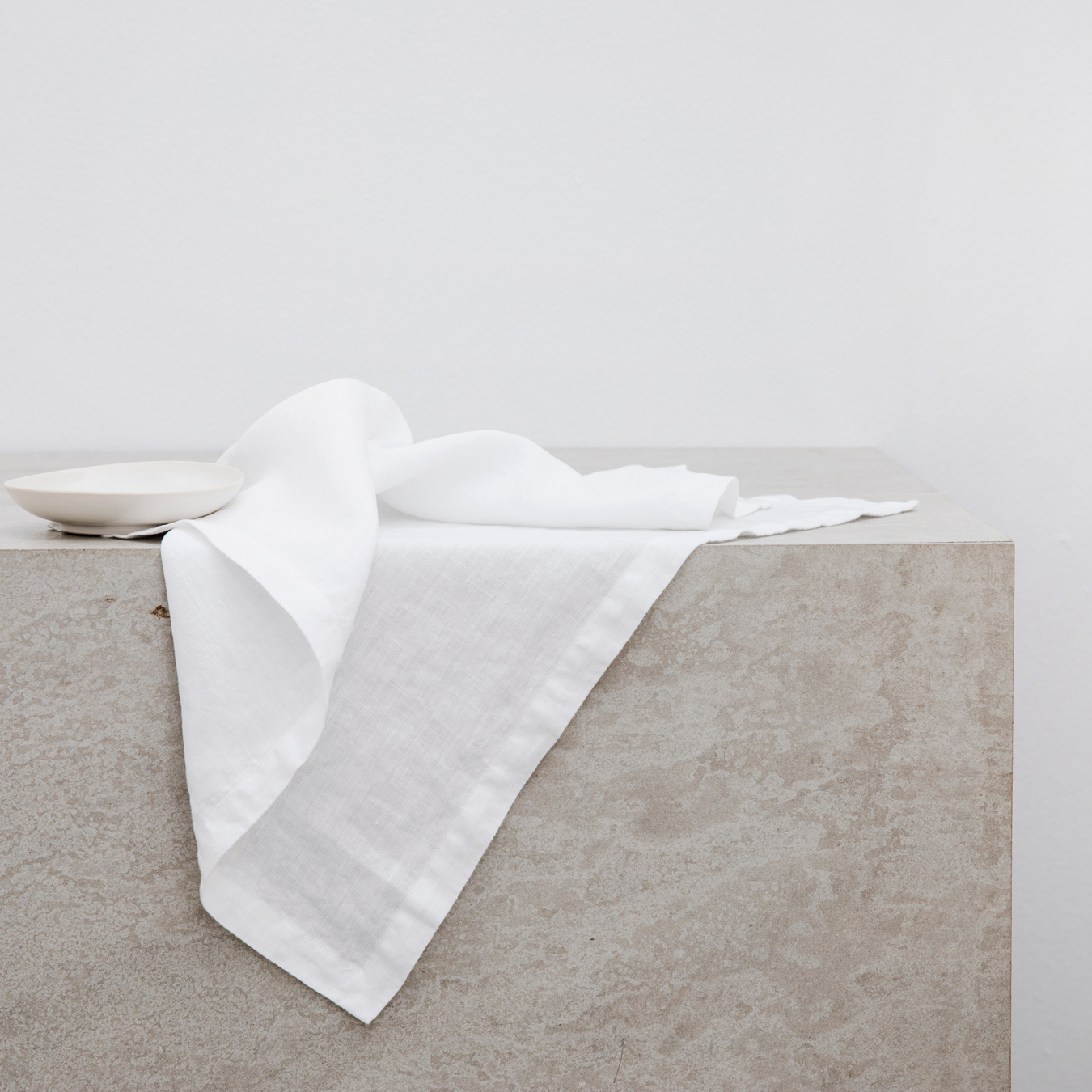 Linen Table Napkins Set of Four White