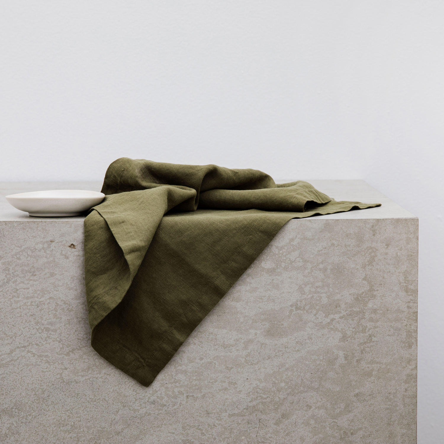 Linen Table Napkins Set of Four Olive