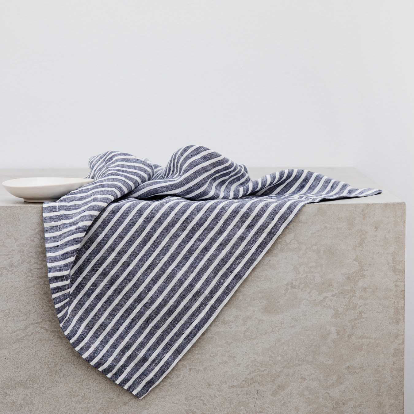 Linen Table Napkins Set of Four Indigo Stripe