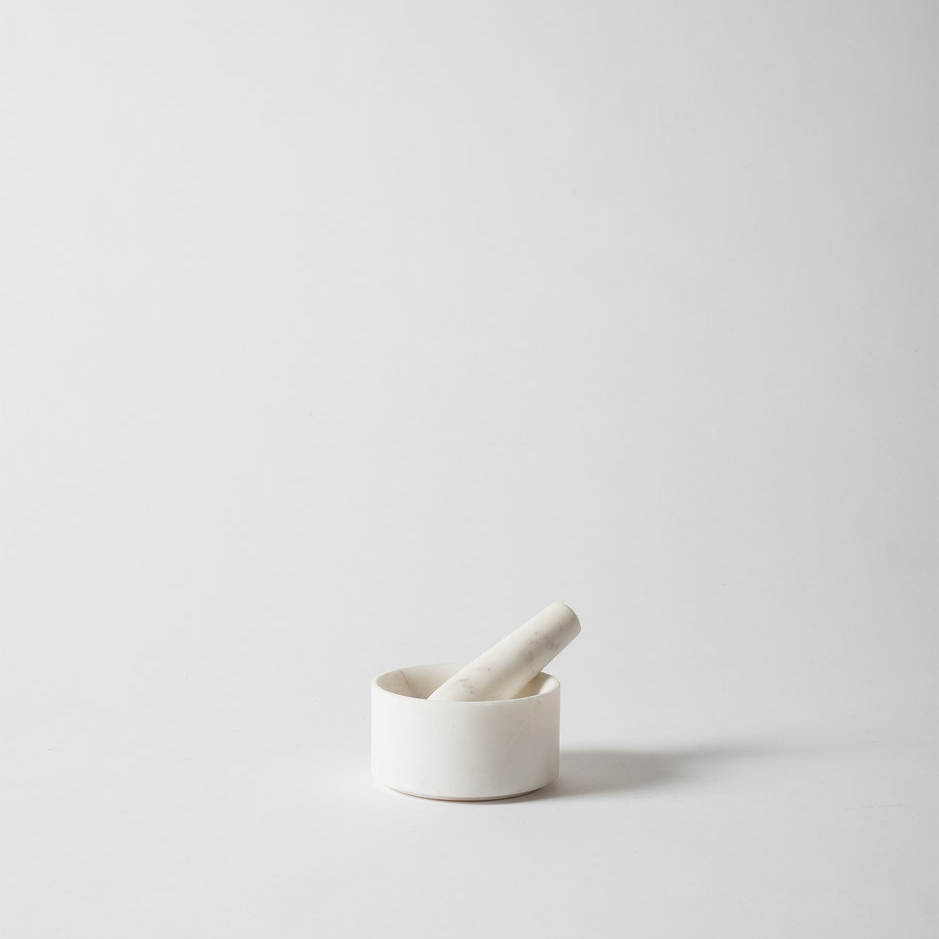 Ora Marble Mortar & Pestle White