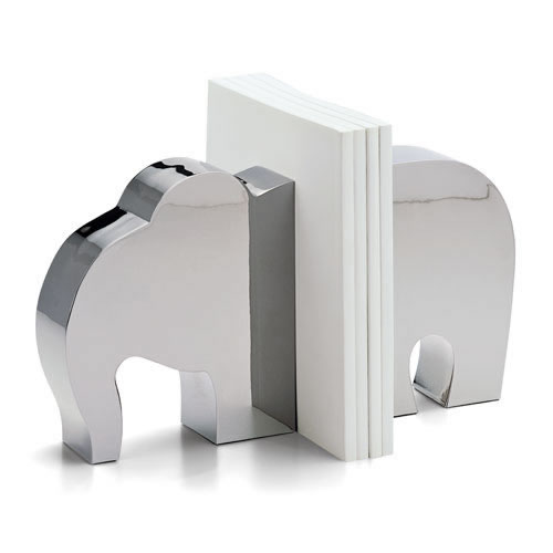 Philipi Stainless Steel Elephant Bookends