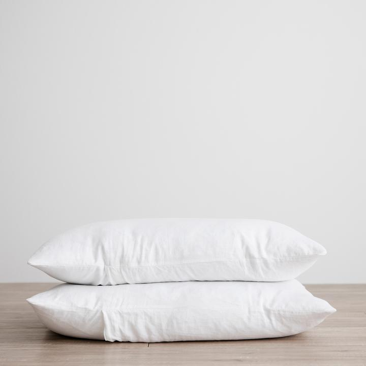 Linen Pillowcases Set of Two - White