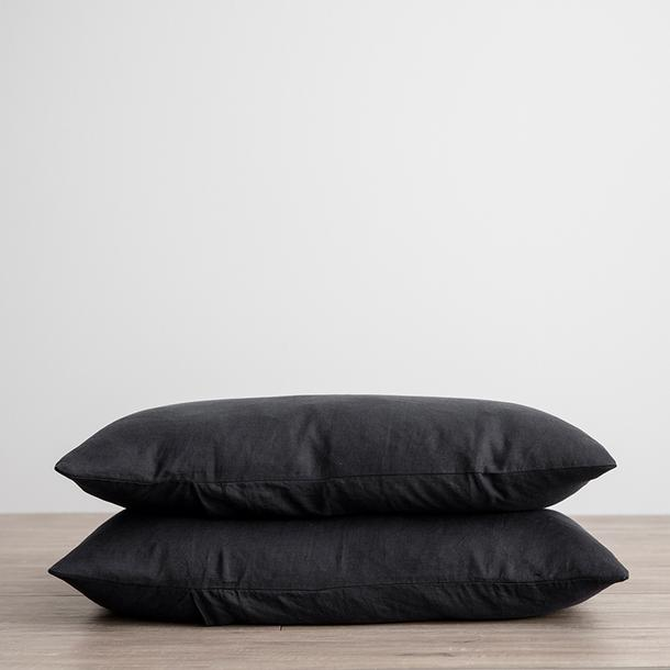 Linen Pillowcases Set of Two - Black