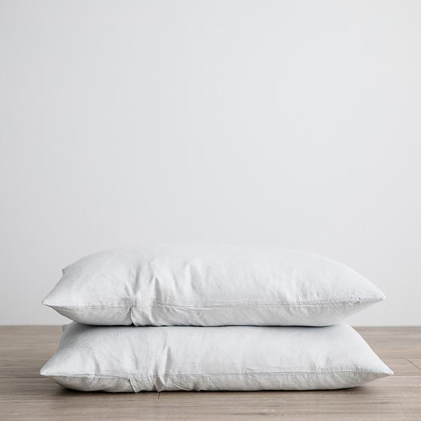 Linen Pillowcases Set of Two - Ice Blue