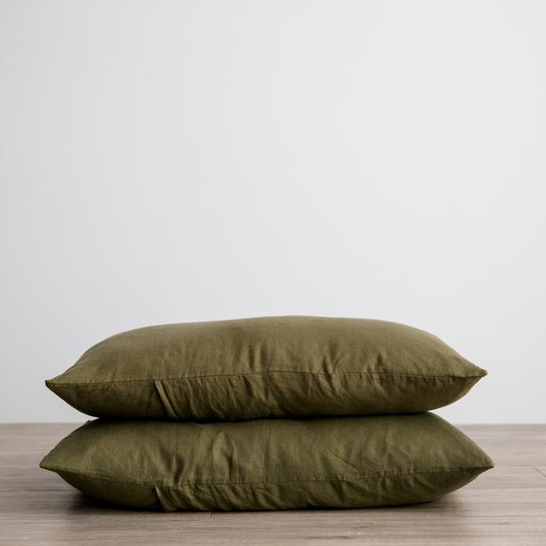 Linen Pillowcases Set of Two - Olive