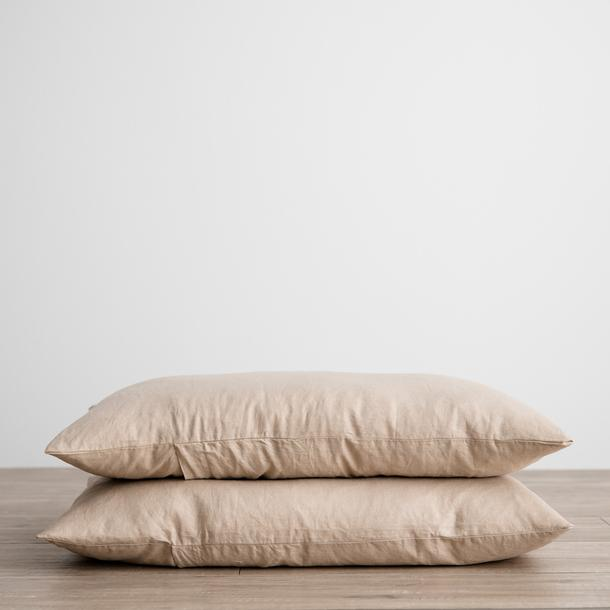 Linen Pillowcases Set of Two - Nude