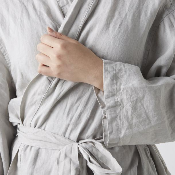 Linen Robe Smoke Grey