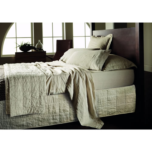 Abbotson King Quilted Bedskirt in Flax