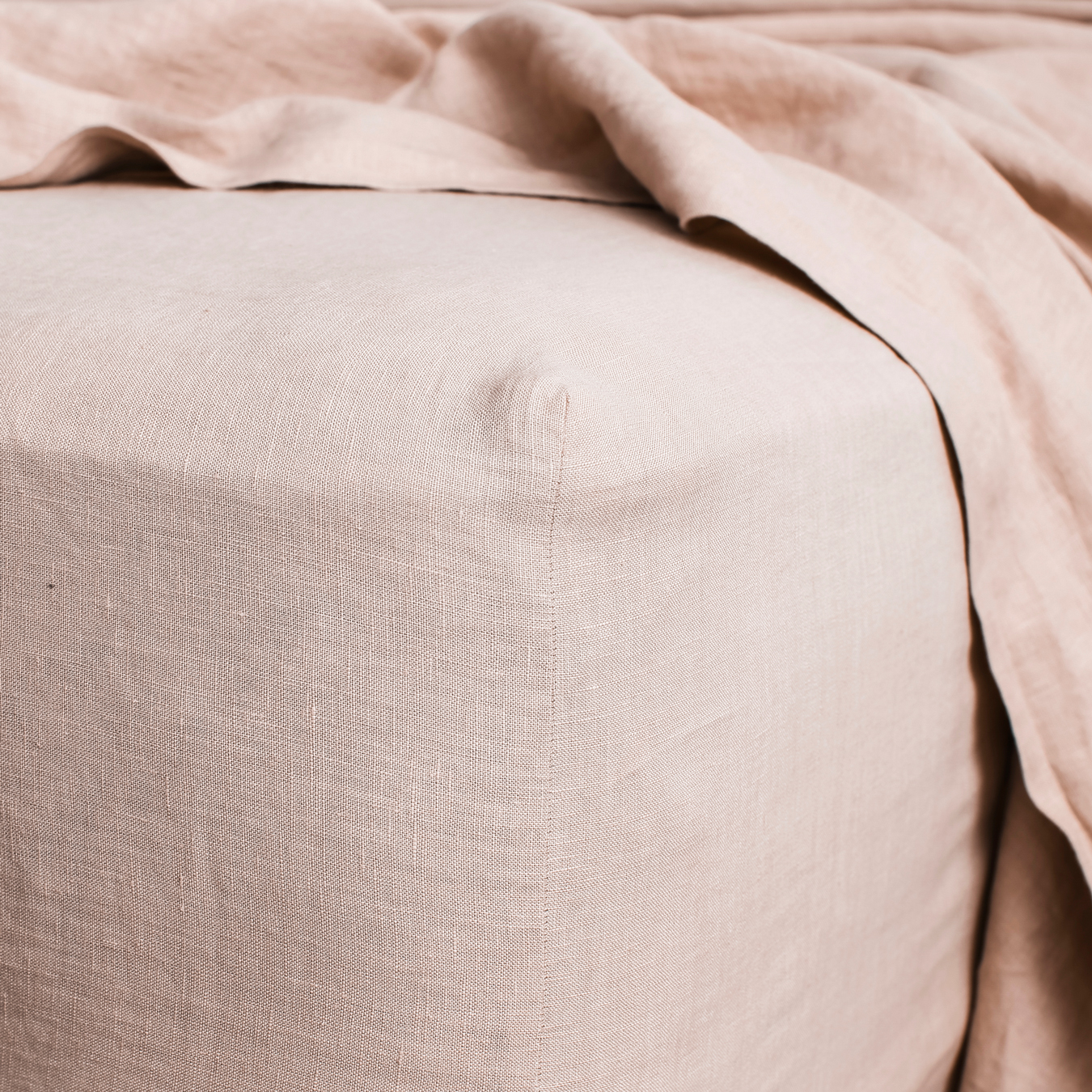 King Linen Fitted Sheet Blush