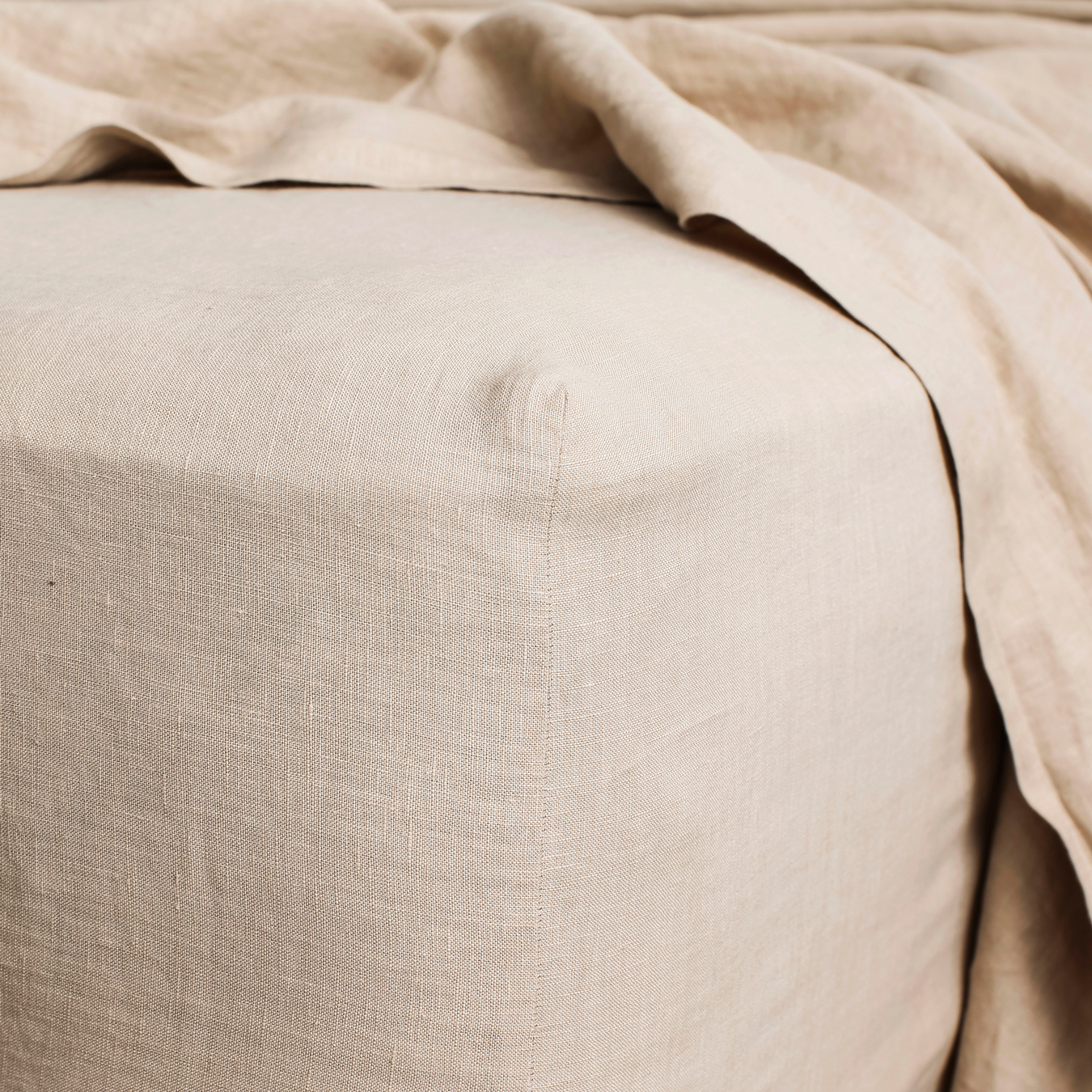 King Linen Fitted Sheet Nude