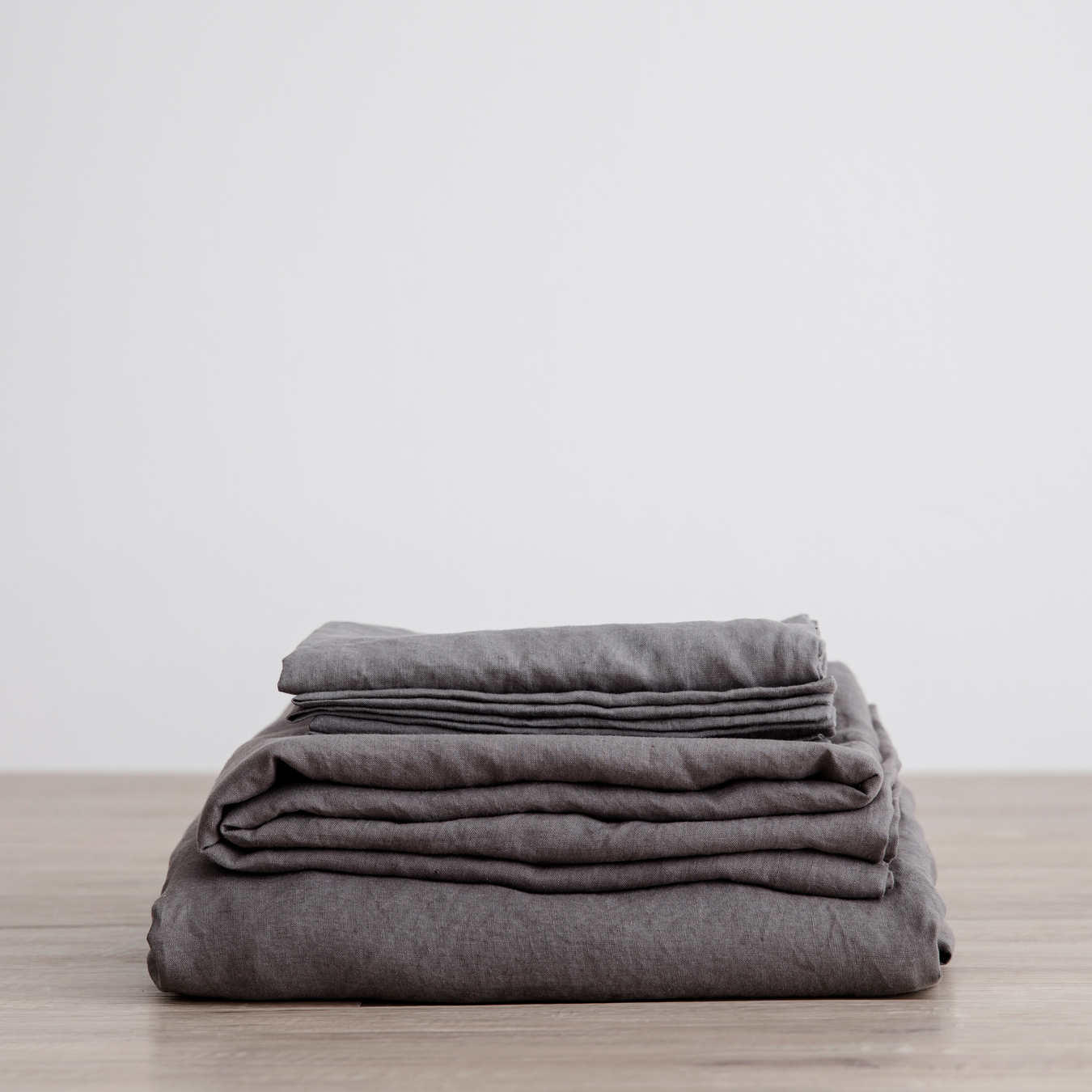 King Linen Sheet Set with Pillowcases Charcoal Grey