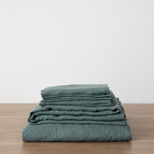 King Linen Sheet Set with Pillowcases Bluestone
