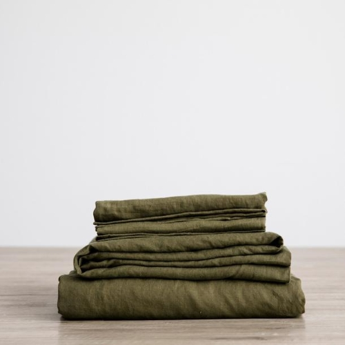 Queen Linen Sheet Set with Pillowcases - Olive