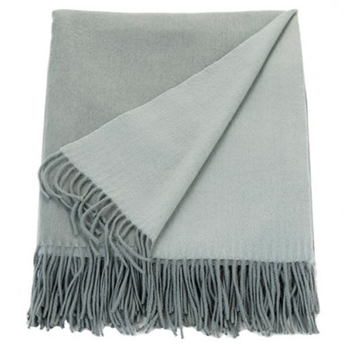 Cashmere Mix Throw Ash Green and Sage