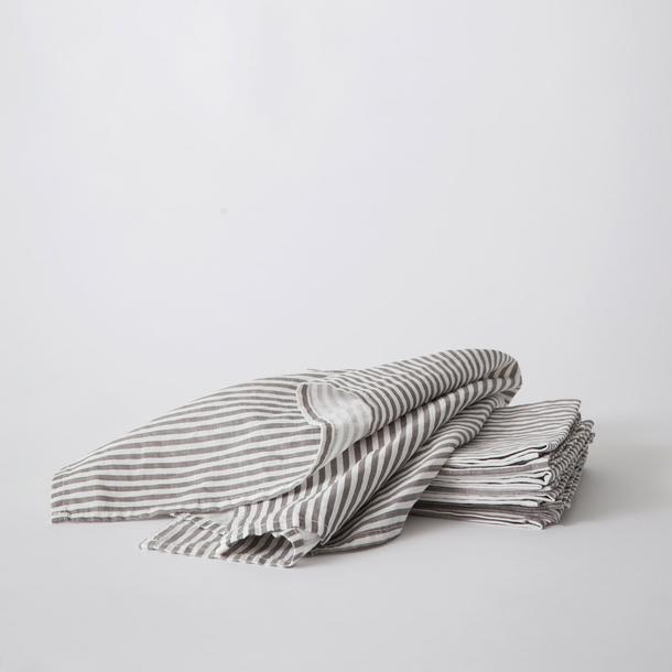 Linen Tea Towel Set of Two - Grey and White Stripe