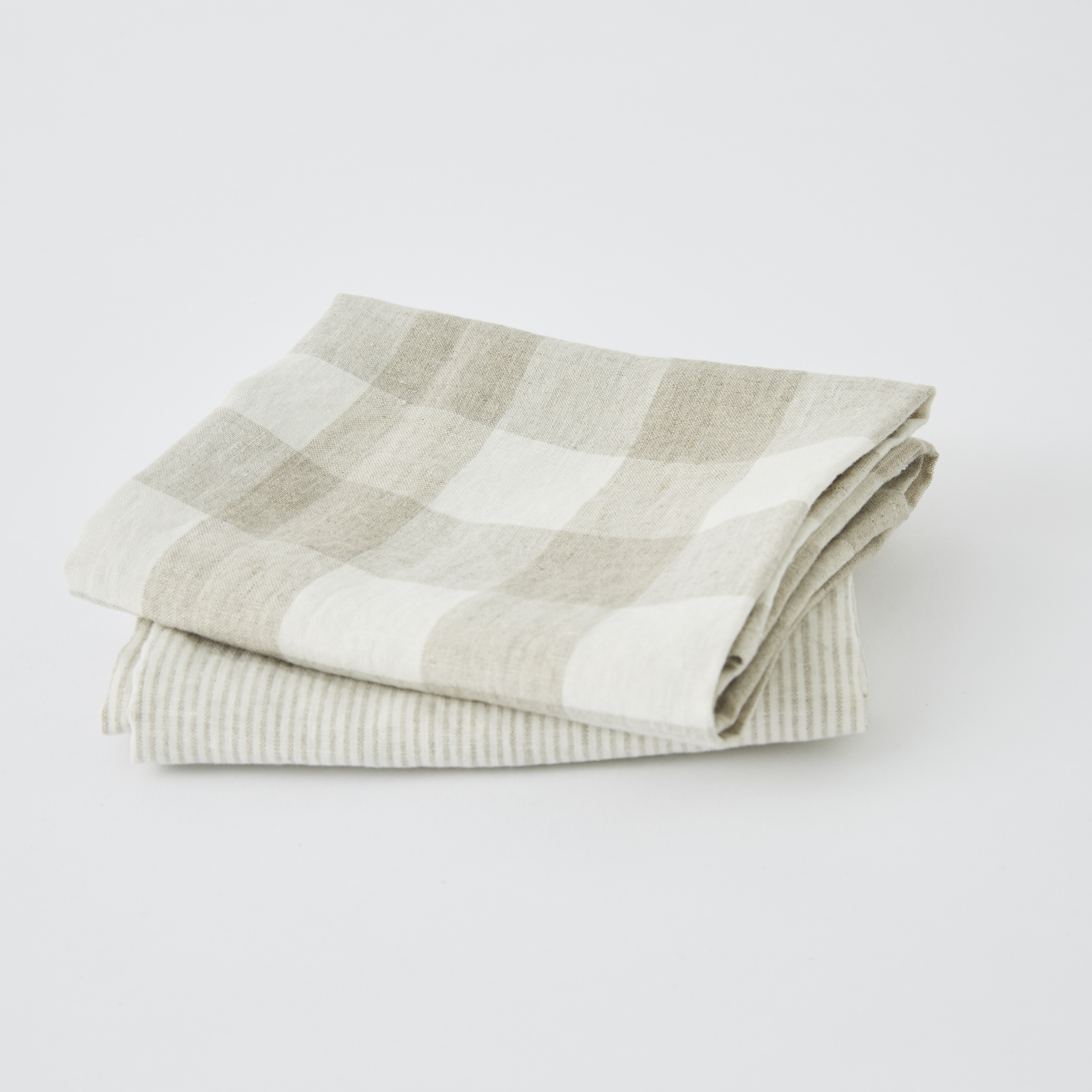 Linen Tea Towel Set of Two - Stripes and Checks