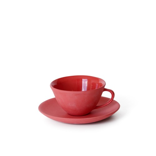 Tea Cup and Saucer in Red
