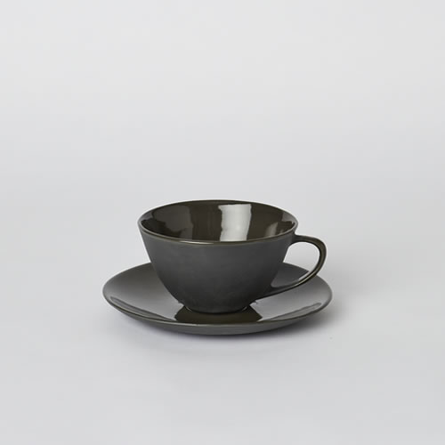 Tea Cup and Saucer in Slate