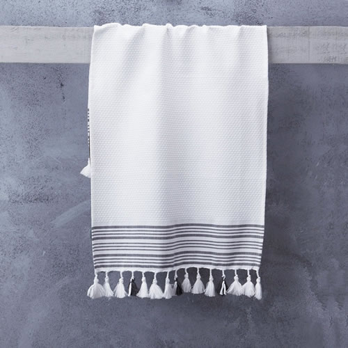 Truva Hand Towel White with Classic Stripes