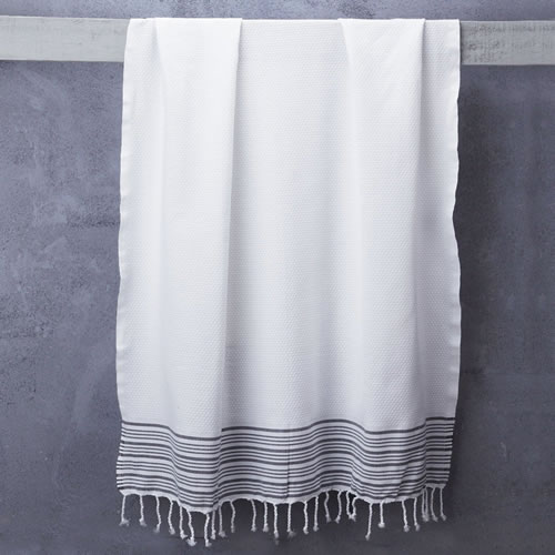 Truva Turkish Bath Towel White with Classic Stripe