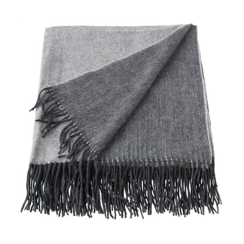 Cashmere Mix Charcoal and Grey Throw