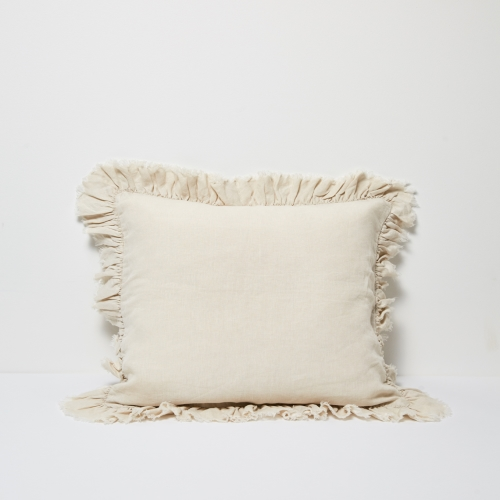 Agnes Linen Cushion W Ruffle Edge - Flax