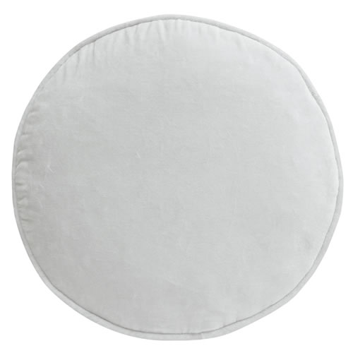 Ice Grey Velvet Penny Round Cushion