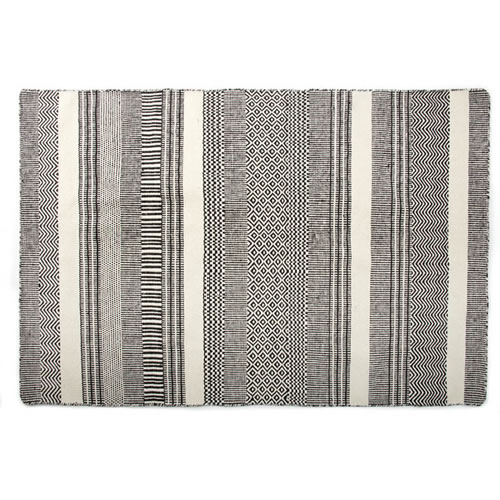 Khyber Black Wool and Cotton Rug 160 x 230cm