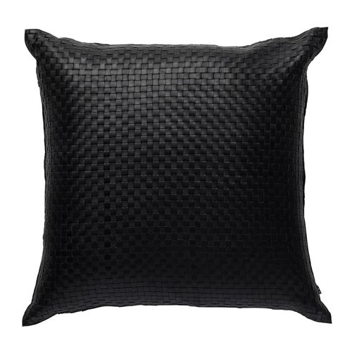 Nappa Square Leather Cushion in Black