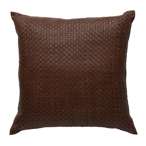 Nappa Square Leather Cushion in Tan