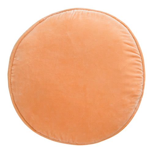 Peach Velvet Penny Round Cushion