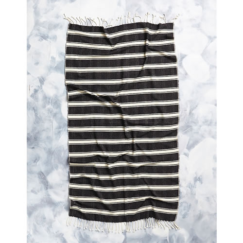 Tribal Hamam Towel in Black