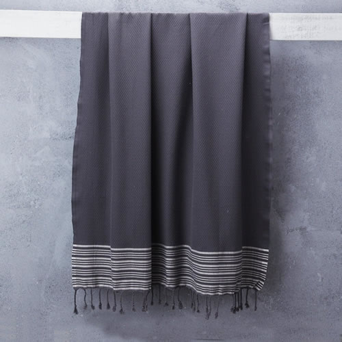 Truva Turkish Bath Towel Grey with Classic Stripe