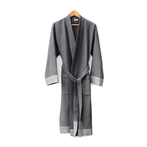 Truva Turkish Robe Grey with Natural Small to Medium
