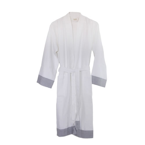 Truva Turkish Robe White with Grey Stripe Small to Medium