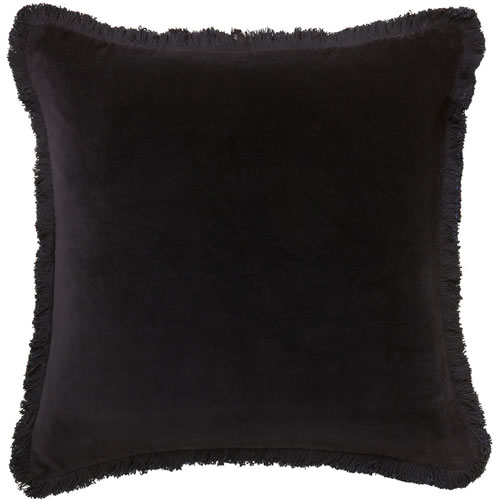 Velvet Fringe Black Cushion