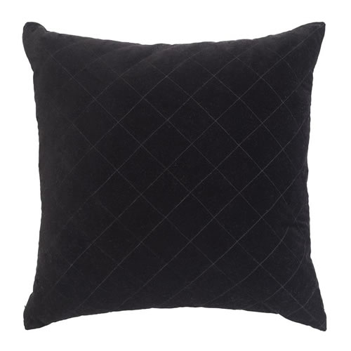 Velvet Quilted Cushion Black