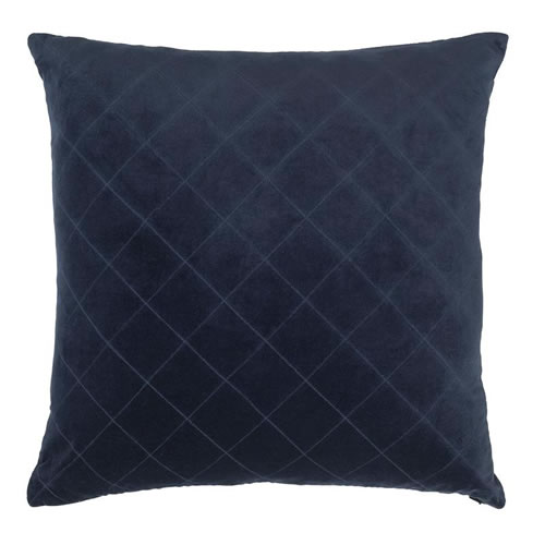 Velvet Quilted Cushion Indigo