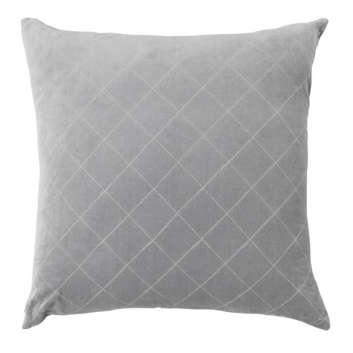 Velvet Quilted Cushion Smoke