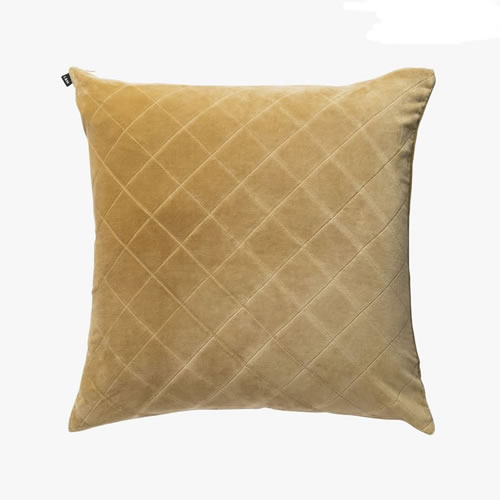 Velvet Quilted Cushion Ochre