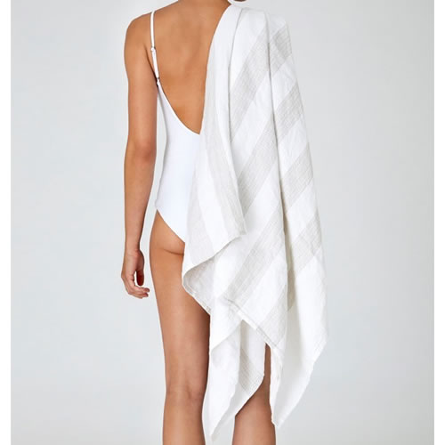 White Natural Striped Poolside Linen Towel